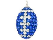 Crystal Blue and White Football Charm Pendant