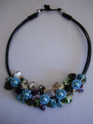 Flower Collar Necklace-Teal