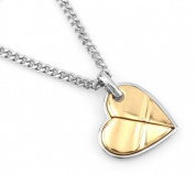 Hip-Hop Iced Silver - Gold Two Tone Heart Pendant Necklace Free 60cm chain