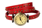 Retro Rivet Belt Style RED PULeather Band Fashion Watch