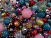 Half-pound Glass Bead Mix, 4-18mm, Assorted Colours and Shapes, Bulk Lot