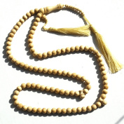 Eid Special! Natural Colour Yellow Citrus Wood Tasbih - 8mm 99-Bead Prayer Beads - Worry Beads with 2 Beuitiful Tassels
