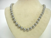 """Victoria Creations Necklace 8mm Faux Grey Pearl Strand 18"""""""