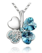 Four Leaf Clover Heart Shaped. Elements Crystal Rhodium Plated Pendant Necklace Light Blue. Chrismas Gift.