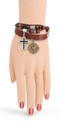 Adjustable Trendy Celebrity Brown Leather with Beads Bracelet for Men and Women with Metal Sailor Wheel & Cross Charms (Length