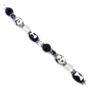 Fiona SUP03-4 Hand Painted Dog and Bones Dog Lover Bead Strand, 18cm