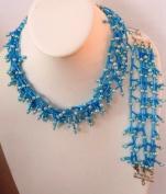 38cm Hand Made Blue 5 Row Chocker Neccklace and 18cm Bracelet