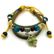 Flower Design Leather Bracelet with Colourful Beads