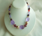 Purple Glass One Strand Beads Necklace with Extension