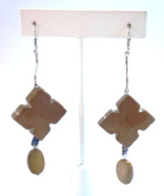 Semi-Precious Stone Brown Jasper and Mother of Pearl Earring
