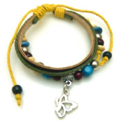 Small Butterfly Design Leather Bracelet with Attractive Beads