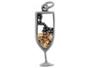 Sterling Silver and Cubic Zirconia Champagne Charm