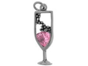 Sterling Silver and Cubic Zirconia Pink Champagne Charm