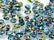 20gr Czech Two Hole Seed Beads SuperDuo 2,5x5 mm AQUAMARINE VITRAIL