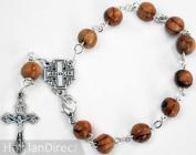 Silver Bracelet with Olive Wood Beads & Jerusalem Cross Centre