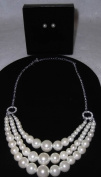Avon Alana Luxe Triple Strand Necklace and Earring Gift Set - Cream