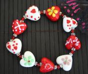 Valentine Heart(Yellow Fiori) Handmade Lampwork Glass Stretch Bracelet