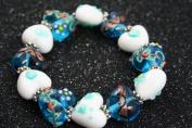 Valentine Blue Heart(With Deco) Handmade Lampwork Glass Stretch Bracelet