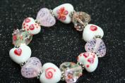 Valentine Pink Heart(With Deco) Handmade Lampwork Glass Stretch Bracelet