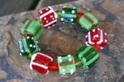 Christmas Gift Box Lampwork Glass Bead Stretch Bracelet