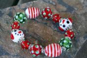 Christmas Polkadot Lampwork Glass Bead Stretch Bracelet