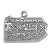Sterling Silver Pennsylvania State Charm with Split Ring