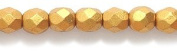 Preciosa Czech Fire 4 mm Faceted Round Polished Glass Bead, Silk Gold, 200-Pack