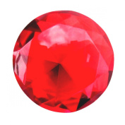 Giant Deep Ruby Red Cut Glass Diamond Jewel