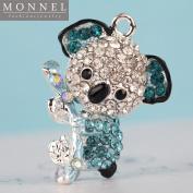 H516 Cute 3 pcs Crystal Blue Style Koala Bear Charm Pendant