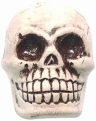 Shipwreck Beads 20 by 27mm Peruvian Hand Crafted Ceramic Skull Beads , White, 3 per Pack