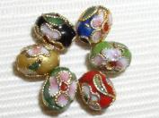 100 New 7x9mm Handmade Oval Mix Cloisonne Beads