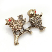 Lady Pin Brooch Brass Twitty Bird-Beautiful and The Highest Quality Crystal with 2 Birds ,Elegant Design 2.5 cm W x 4 cm H Comes With Free Velvet Bag,Attractive and Gorgeous . Super Saving w/ .  d.