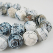 Black and White Crackle Agate Beads - Faceted Round 10mm