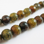 Olive Green Crackle Agate Beads - Faceted Round 10mm