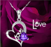 Sliver Plated-925 Sterling Silver Lovely Bling Purple Cubic Zirconia Heart Shape With Love Pendant Necklace / Chain--(With Cutely Gift Wrap)----Awesome gift for Holidays-. From USA--takes 2-6 working days with shelley.kz INC--------(1 pc ..