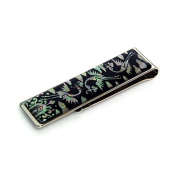 Mother of Pearl Crane Cloud Design Slim Stainless Steel Mens Metal Black Money Clip Holder