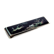 Mother of Pearl Ancient Horse Back Hunting Scene Design Slim Stainless Steel Mens Metal Black Money Clip Holder