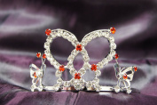 Princess Bridal Wedding Tiara Crown with Red Crystal Butterfly DH15724c