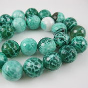 Green Crackle Agate Beads - Faceted Round 12mm