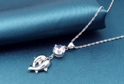 Sliver Plated-925 Sterling Silver Lovely Bling Fashion White Cubic Zirconia Dolphins Pendant Necklace / Chain--(With Cutely Gift Box)-----. From USA--takes 2-6 working days with shelley.kz INC--------(1 pcs only)------