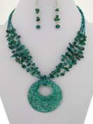 Fashion Jewellery ~ Green Layered Necklace and Earring Set