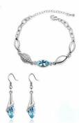 Sliver Plated-925 Sterling Silver Crystal Lovely Light Blue Cubic Zirconia 2 in 1 Set (Earring and Bracelet) -----(With Cutely Gift Box)-----. From USA--takes 2-6 working days with shelley.kz INC