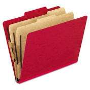 Pendaflex Products - Pendaflex - Pressguard Classification Folders, Letter, 6-Section, Scarlet, 10/Box - Sold As 1 Box - Acrylic-coated 20 pt. PressGuard covers that resist stains and moisture. - 5.1cm capacity fasteners on the interior covers. - Two-w ..