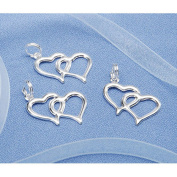 Double Linked Heart Charms Favour Invitation Decoration Silver 100 Pieces