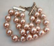 3 Row Cream Glass Pearl Bracelet