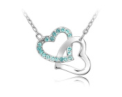 Jewellery Heart to Heart Crystal Rhinestone Lover Choker Pendant Necklaces Chain for Women K034-4-48B