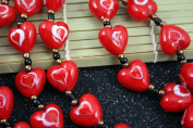 Valentine Solid Red Heart(With Red Heart) Lampwork Glass Beads
