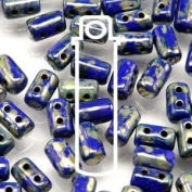 Opaque Blue Picasso 3x5mm Rulla Glass Beads