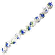 Fiona 100511 Series 8-Inch Porcelain Beads Strand, Indigo Peonies Printed on 18mm Round Porcelain Beads