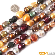 Gem-Inside 12-13mm Freeform Multicolor Natural Freshwater Pearl Beads Strand 15 Inches